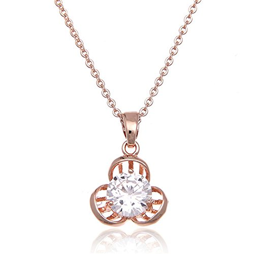 Hemss Delicate Flowers Zircon Gold Short Clavicle Chain Necklace Jewelry Pendant For Women - Horn Pendant 10kt Gold Jewelry