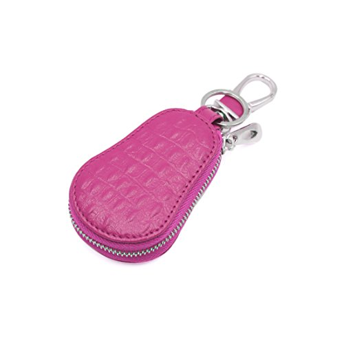 uxcell Rose Red Faux Leather Gourd Type Smart Chain Coin Holder Zipper Bag for Car Remote Key