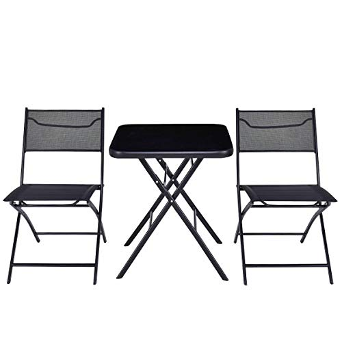 Cypress Shop Outdoor Folding Patio Furniture Set Square Table Chair Suit Garden Set Bistro Backyard Lawn Deck Home Furniture Set of 3