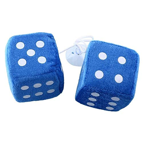 Zereff 1 Pair Fuzzy Dice White Dots Rear View Mirror Hangers Vintage Car Auto Accessories Car Interior Decoration Car Styling 4 Color - (Color Name: Blue) - 2 Dice Fuzzy