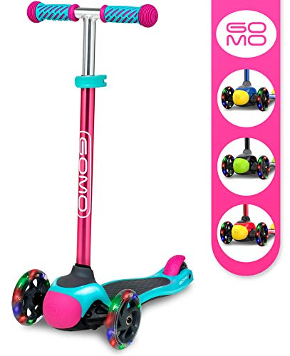 GOMO 3 Wheel Scooter - Toddler Scooter - Three Wheel Scooter for Kids 2, 3, 4 and 5 Years Old - Adjustable Height Kick Scooter w/Colors for Boys & Girls (Teal/Pink)