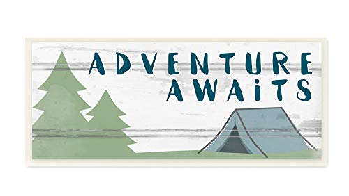 (The Kids Room By Stupell Adventure Awaits Camping Scene with Trees Planked Look Sign Wall Plaque Art, 7 x 17, Proudly Made in USA, Multi-Color)