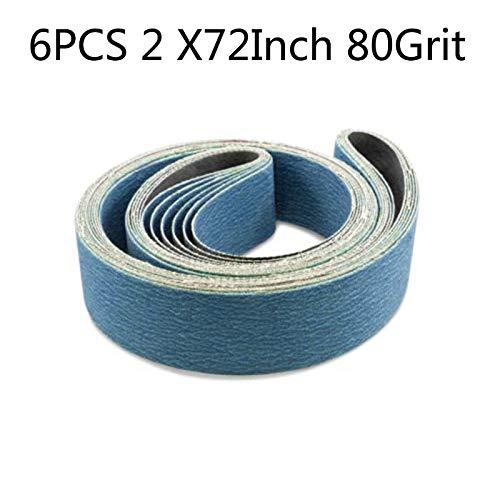 Maslin 6pcs 2 X 72 Inch 80 Grit Metal Grinding Zirconia Sanding Belt For Grinding