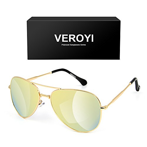Veroyi Aviator Sunglasses, 9110-C7 Classic Women Polarized Sun Glasses, Metal Plating Frame and Temple. (Metal Frame: Gold; Lens: Gold)