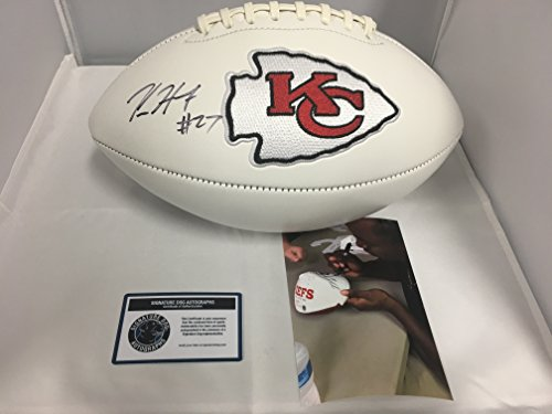 Kareem Hunt Signed Autographed Kansas City Chiefs Logo Football KHunt Hologram Sig Dog & COA Card (Sigs Football Card)