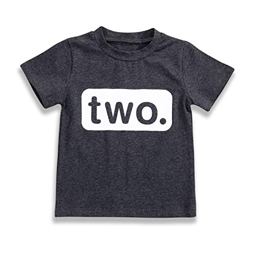 2nd Birthday T-Shirt Toddler Kids Boy Outfits Two Year Old Top Clothes (3 T, Charcoal Black)