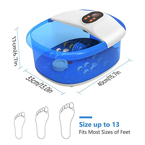 Carevas Foot Spa Massager, Heated Foot Bath with 14 Massaging Rollers, O2 Bubbles, Adjustable Temperature, Medicine Box for Tired Feet Stress Relief
