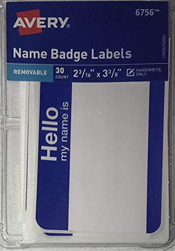 (Avery 6756 Removable Name Badge Labels, 2 3/16