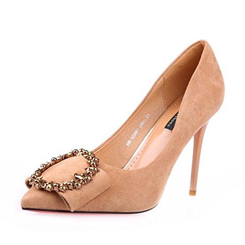 HOESCZS 2019 Frühjahr und Herbst Neue Stiletto Heels Mode Mode Mode wies quadratische Schnalle Strass einzelne Schuhe Damenschuhe Schwarze Arbeitsschuhe 26870a