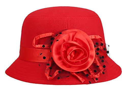 IL Caldo Women's Fur Retro Winter hat Fascinators,Red ()