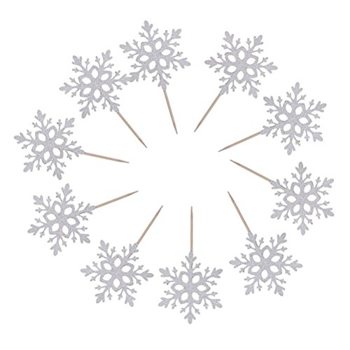 nuolux 10pcs cake toppers snowflake design for christmas party decoration color silver - Christmas Cake Decorations Amazon