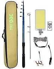 مصباح LED سي او بي متعدد الوظائف للأماكن الخارجية اف ار-04 من 360 لايت، مع جهاز تحكم عن بعد 800 واط، محمول، قابل للفصل، متعدد الاوضاع للتخييم والحديقة الصيد وحالات إصلاح السيارة الطارئة