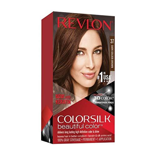 🥇 Revlon ColorSilk Tinte de Cabello Permanente Tono #37 Castaño Dorado Oscuro