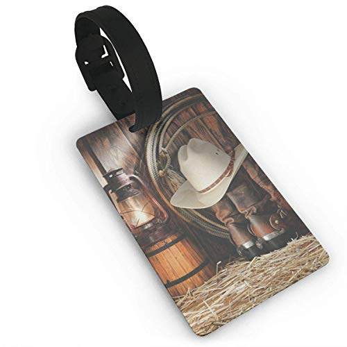 Homlife Happy Western Cowboy Life PVC Travel Luggage Tag with Strap for Baggage Bag/Suitcases - Business Card Holder Name ID Labels Set for Travel