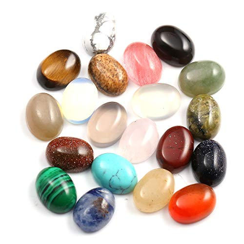 CAB Cabochon Beads Natural Stones Beads for Jewelry Making Natural Stone Oval Random Color Beads Crystal Quartz Stone for Jewelry DIY Size 6x8 mm 20 Pieces