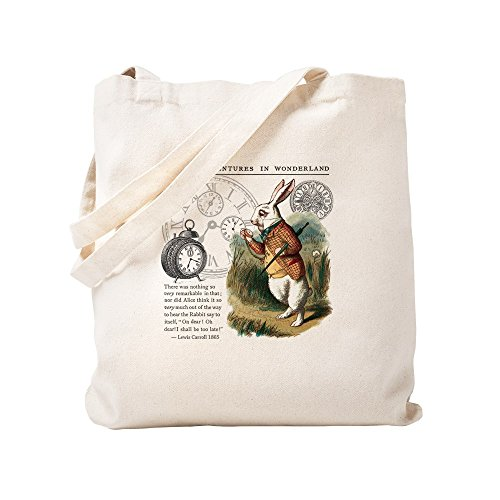CafePress The White Rabbit Alice In Wonderland Tile Natural Canvas Tote Bag, Cloth Shopping Bag