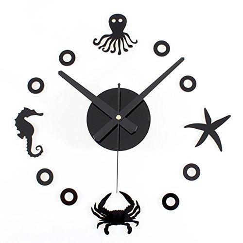 Yikebo(TM) Starfish Hippocampus Crab Octopus Ocean World Creative DIY Self Adhesive Acrylic Living Room Decoration Digital Wall Clock Quartz 3D Home Décor Retro Art Watch Kid's Room Décor (Black)