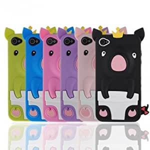 3D Cute Pig Piggy Crown Soft Rubber Silicone Skin Case For iPhone 4 @ Color==light pink