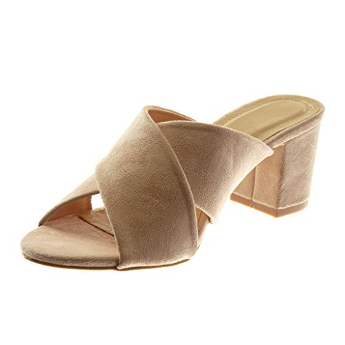 Heel Fashion Women's High Light Angkorly Pink on Mules Block Sandals cm Thong Slip Shoes 7 1pwx5vqwB