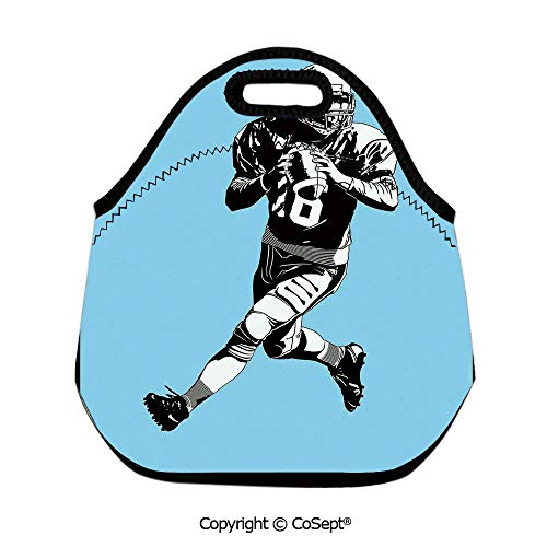 (Multipurpose Neoprene Lunch Bag,American Football League Game Rugby Player Run Original Retro Illustration,for Women Men Kids Boys Girls(11.81x6.29x11.02 inch) Blue Black White)