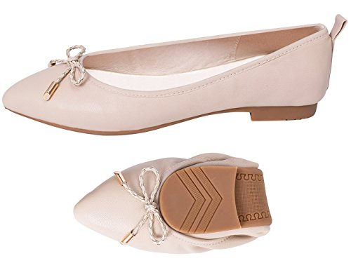 ABUSA Women's Ballet Flates Casual Solid Plain Foldable Pointed Toe Flats String Tie Comfort Soft Slip On Work Shoes Nude Leather Size 11