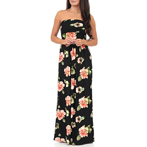 Women's Strapless Ruched Maxi Tube Maternity Dress with Pockets by Rags and Couture - Made in USA by Mother Bee