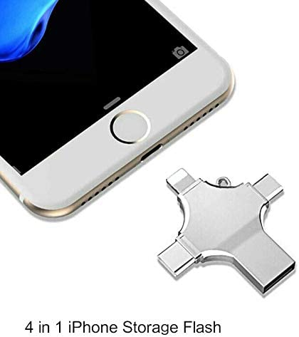 USB Flash Drive 512G 4 in 1 Memory Stick for iPhone Android PC Type-c Mobile Phone Silver