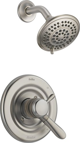 Delta T17238-SS Lahara 17 Series Dual-Function Shower Trim Kit with 5-Spray Touch Clean Shower Head, Stainless (Valve Not Included) (Hand Ss Sink)