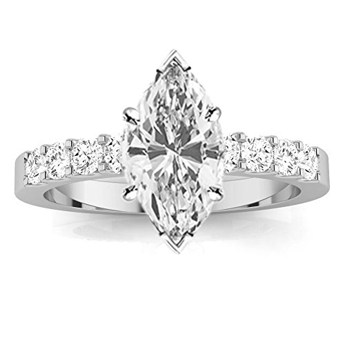 1 Carat Classic Prong Set Marquise Cut Diamond Engagement Ring (H Color VS2 Clarity Center Stones) (Marquise Vs2 Ring)