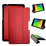 Motoor Google Nexus 7 2nd Gen PU Leather Tablet Case with Anti-Shock Ultra-Thin Triple Folding Performance for Google Nexus 7 2nd 2013 Model K009 [Nexus 7C Asus] (Red)