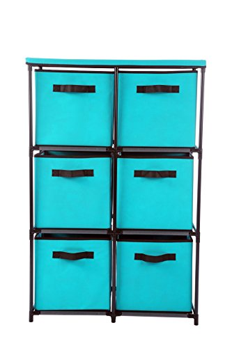 "Homebi 6-Drawer Storage Chest Shelf Unit Storage Cabinet Multi-Bin Organizer with Removable Non-woven Fabric Bins in Turquoise,25""W x 13.2""D x38.0""H"