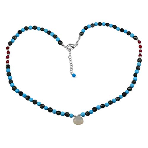 Silvesto India Chalcedony, Turquoise & Red Quartz Jaipur Rajasthan India Delicate Gift 925 Silver Plated Beaded Handmade…