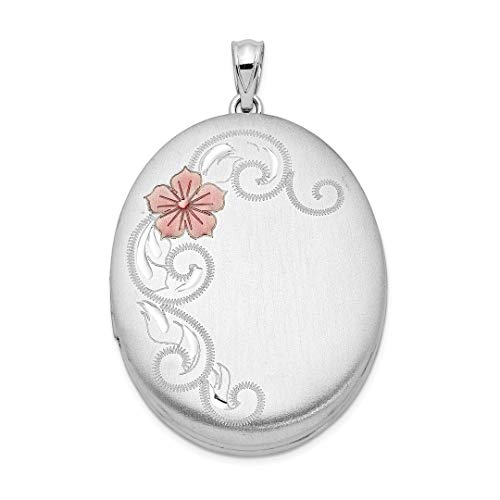 925 Sterling Silver Enamel Flowers 34mm Oval Photo Pendant Charm Locket Chain Necklace That Holds Pictures Fine Jewelry For Women Gift Set - Open Filigree Designer Pendant Charm
