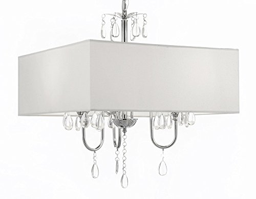 Modern Contemporary Crystal Chandelier SWAG PLUG IN-CHANDELIER W/ 14′ FEET OF HANGING CHAIN AND WIRE! With Large Square White Shade