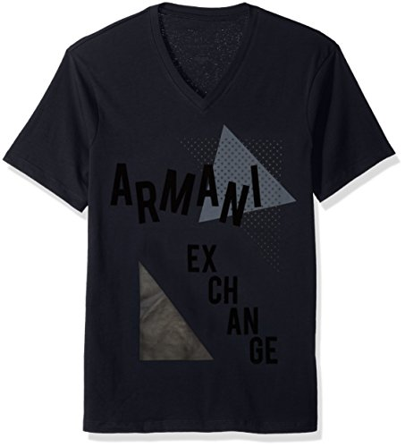 A|X Armani Exchange Men's Retro Logo V Neck Tee, Navy, - Logo Armani Exchange