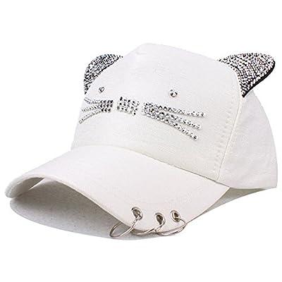 Mwfus Cute Cat Ears Rhinestone Adjustable Baseball Hat Sun Visor Cap Women Hip Hop Snapback Casual Summer Caps