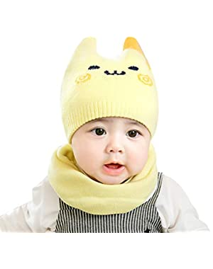 2PCS/Set Lovely Cartoon Face Pattern Newborn Baby Cap + Neck Warmer Gaiter Suit Knitted Hat and Scarf Set