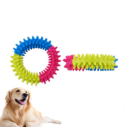 Rumfo 2 Pack Pet Dog Colorful Rubber Thorn Ring Teeth Chew Molar Training Fetch with Non-Toxic Dental Healthy Training Toys