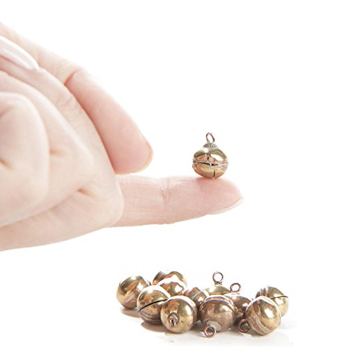Package of 48 Brass Metal Jingle Bells for Holiday Decorating, Crafting and Embellishing