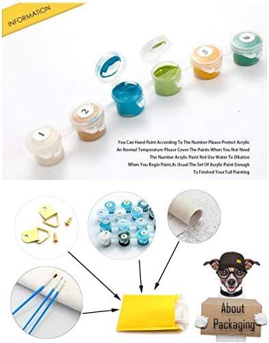 upnanren Kit Fai-da-Te per Pittura Digitale per Adulti per Principianti e Nuovi pittori, Arrotolato su Un Gatto colorato di Tela 20X24 Pollici con Cornice