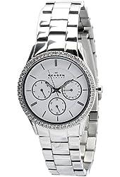 Skagen Women's 347LSX White Dial Chronograph With Swarovski Elements Watch