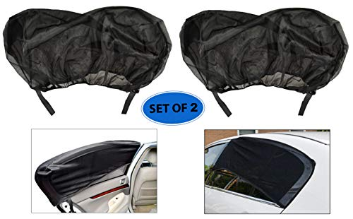 Home-X Universal Black Rear Window Sunshade, Car Sun Protection Shade, Baby Kid Pet Breathable Sun Shade (Set of 2)