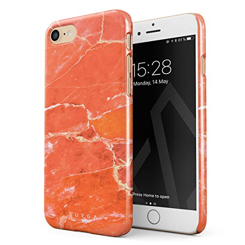 BURGA Phone Case Compatible with iPhone 7/8 Neon Ornage Peach Coral Pattern Marble Stone Summer Vibes Thin Design Durable Hard Plastic Protective Case ()