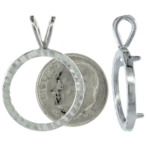 Dime Pendant (Sterling Silver 18 mm Dime (10 Cents) Coin Frame Bezel Pendant w/ Diamond Cut Finish (COIN is NOT Included))