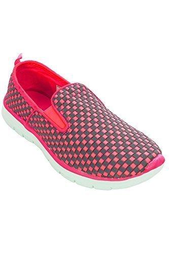 SAPHIR BOUTIQUE FLK011 Riptide Atmungsaktiv Elastisch Schuhe Leuchtend Gepolstert Sohle Turnschuhe - Schwarz, 4 UK