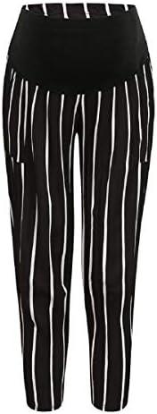 Putars Maternity High Waist Pants Stripe Point Trousers Comfort Radish Pants