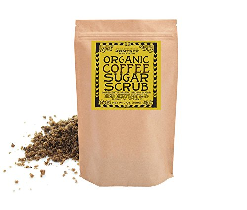 Organic Coffee Sugar Scrub for Face & Body 100% All Natural Deep Cleansing & Exfoliating for Tone, Radiant Skin (199g) 7.0 oz