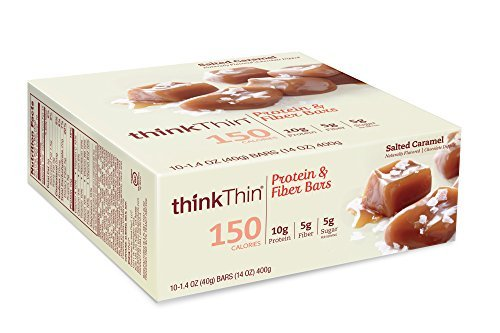 thinkThin Protein & Fiber Bars, Salted Caramel, 1.41 Ounce (Pack of 10) by (Fibre Bar)