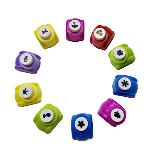Aoyoho 10PCS Different Shapes Mini Paper Craft Punch Shaper Punch Mini Handmade Hole Puncher Kids Craft DIY Handmade Hole Puncher for DIY Scrapbook, Greeting Cards Making and Kids Artwork by Aoyoho