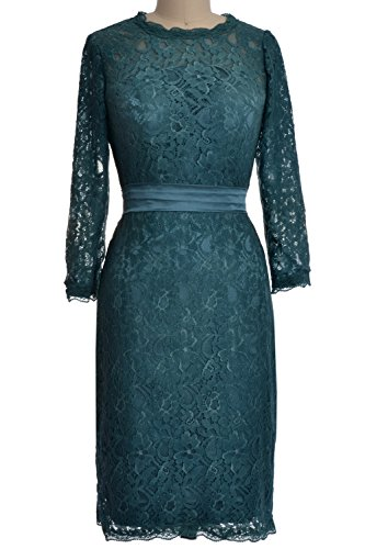 MACloth Women 3/4 Sleeve Lace Short Cocktail Dress Wedding Party Evening Gown Teal
